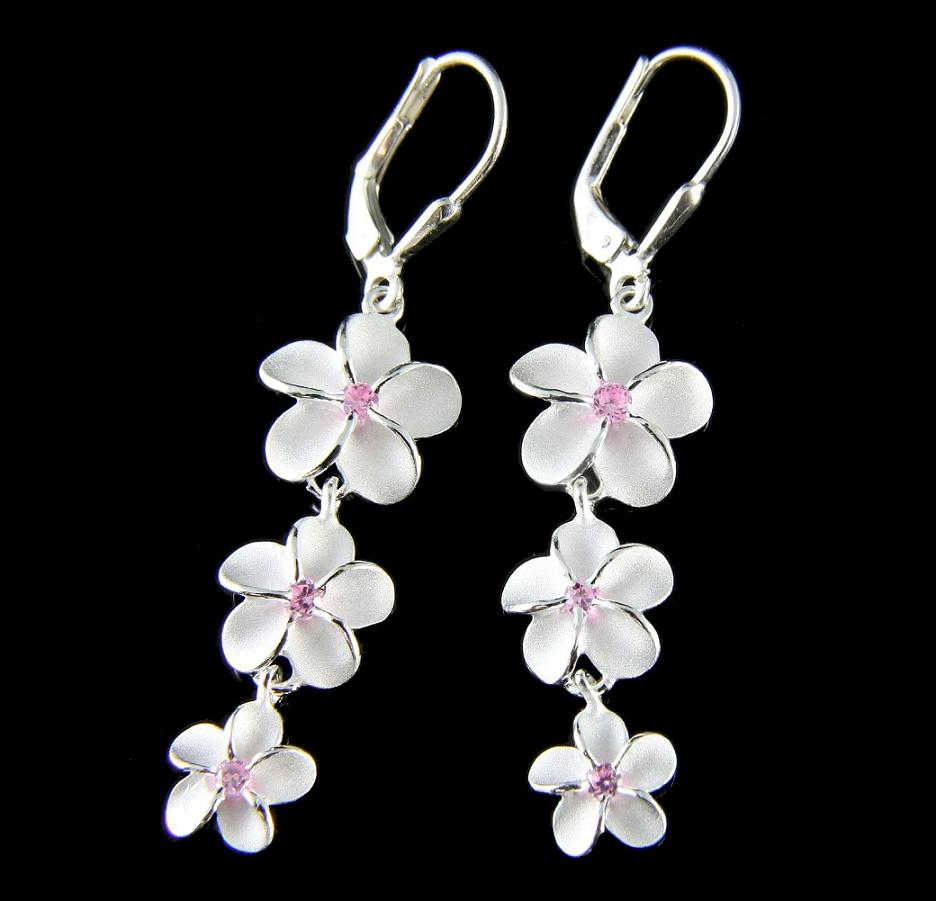 Silver plumeria flower jewelry earrings and gifts izmirmasajfo Choice Image