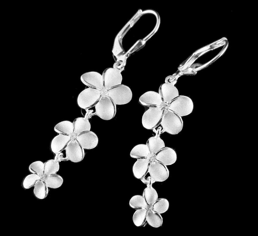Silver Plumeria Flower Jewelry Earrings And Gifts