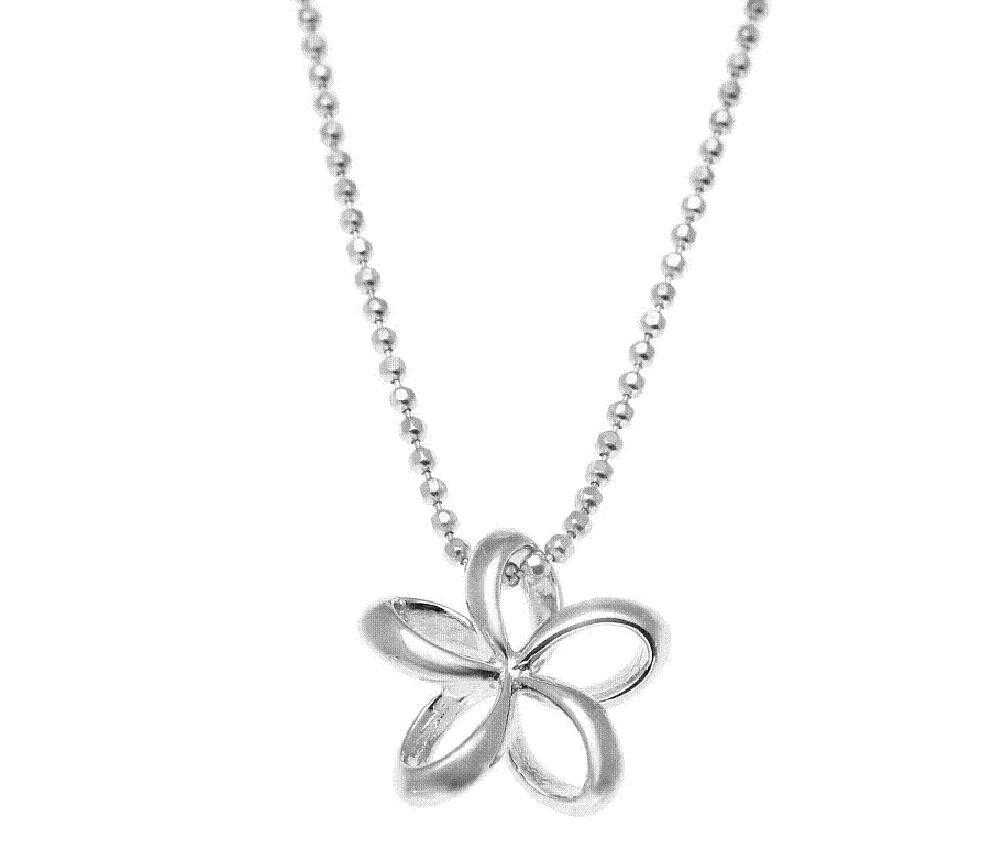 925 Sterling silver Hawaiian floating outline plumeria flower pendant 20mm